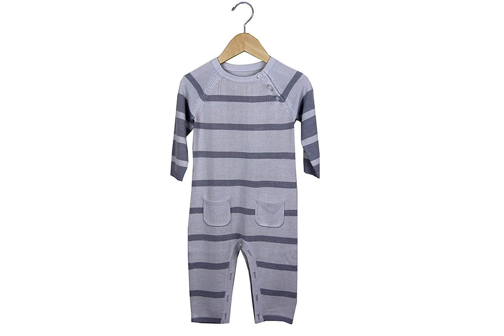 Earth Baby Knit Bamboo Rompers - Grey Stripe
