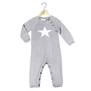 Earth Baby Knit Bamboo Rompers Grey Star