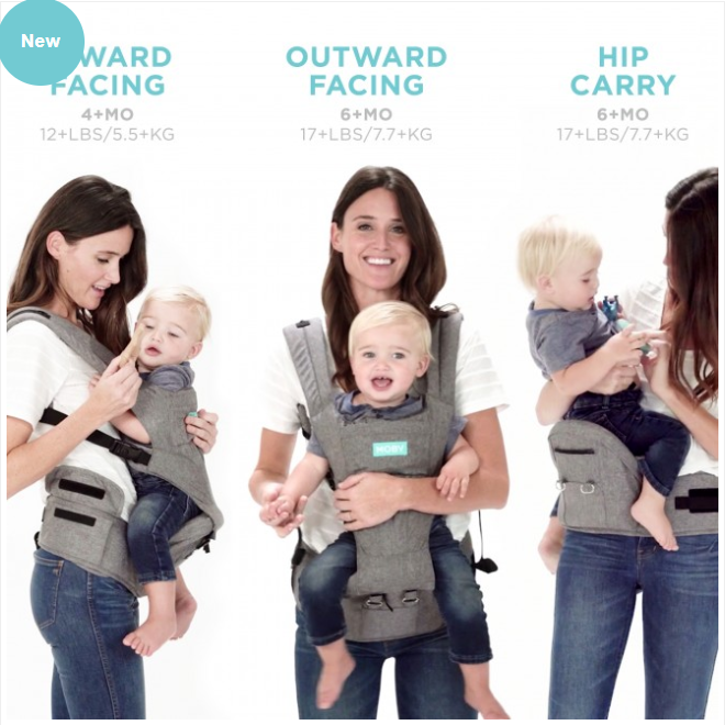 Moby 3 in 1 Carrier & Hipseat Grey