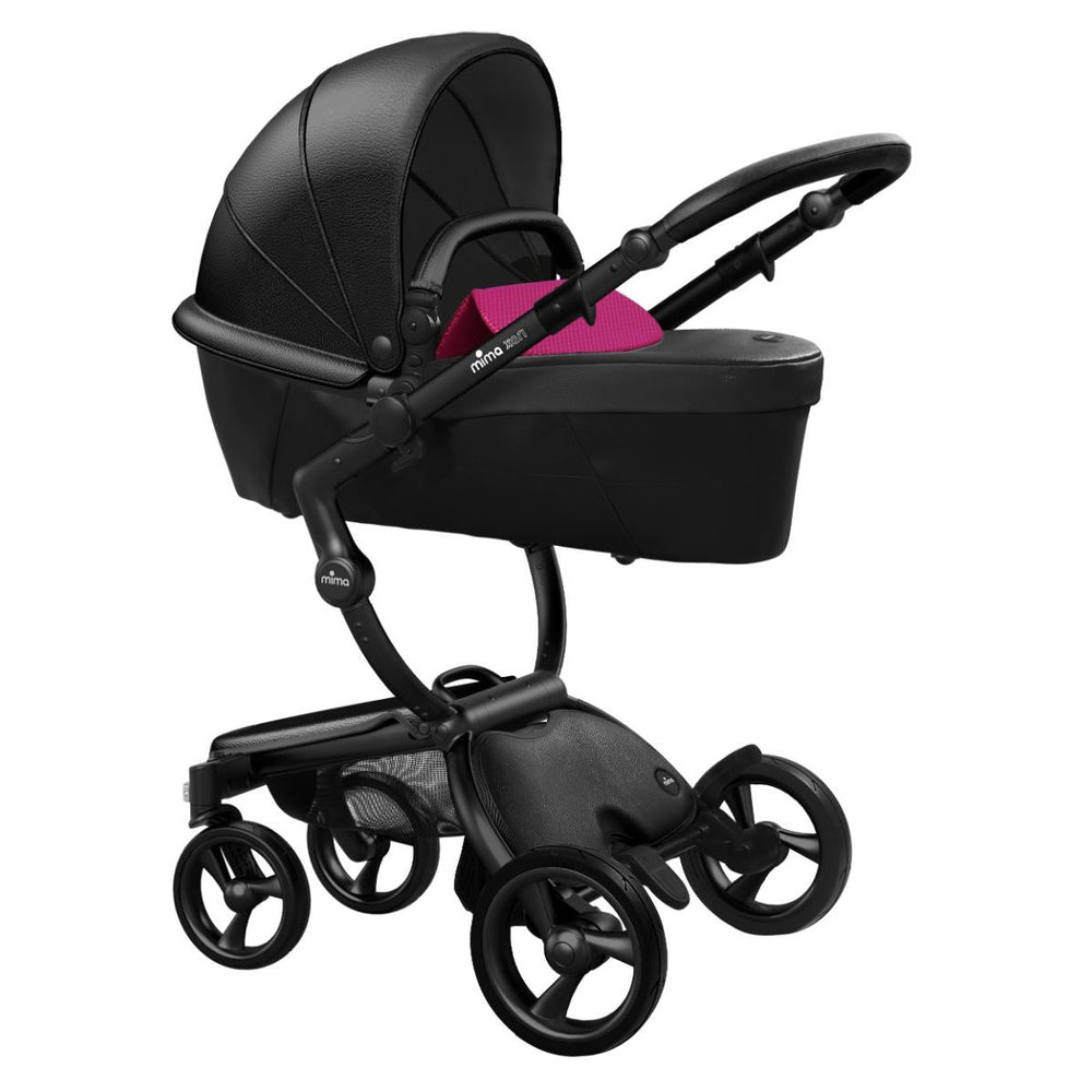 Mima Xari Stroller Black Chassis with Black Seat - Hot Magenta Starter Pack