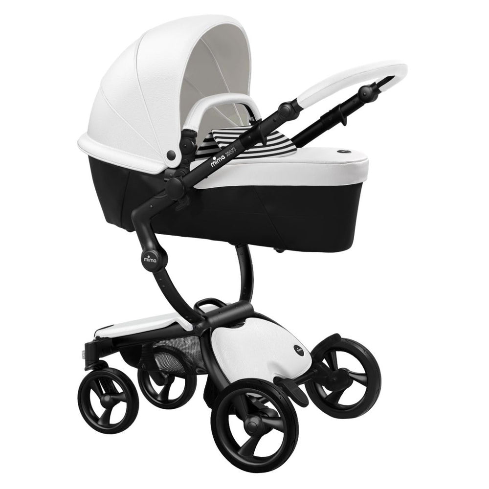 Mima Xari Stroller Black Chassis with White Seat - Black & White Stripes Starter Pack