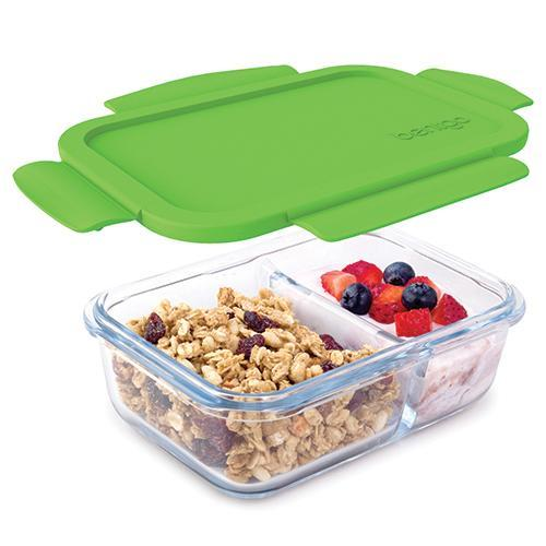 Bentgo Glass 2 Compartment Container Green BGO-GLSM-GRN
