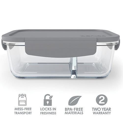 Bentgo Glass 2 Compartment Container Grey BGO-GLSM-GRY