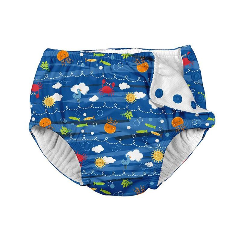 I Play Ruffle Snap Swimsuit Diaper Royal Blue Sea Friends