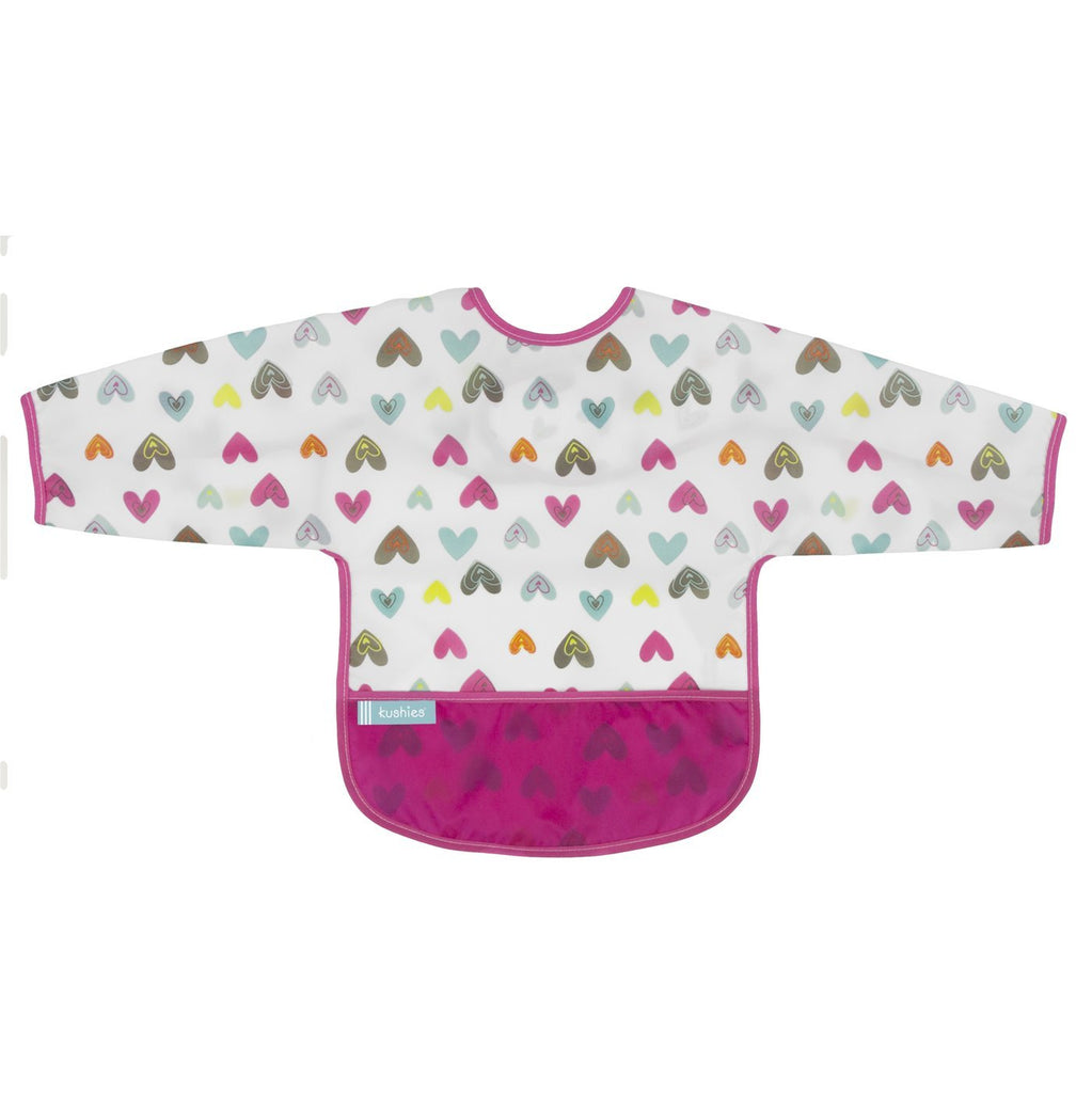 Kushies Clean Bib W/Sleeves Hearts