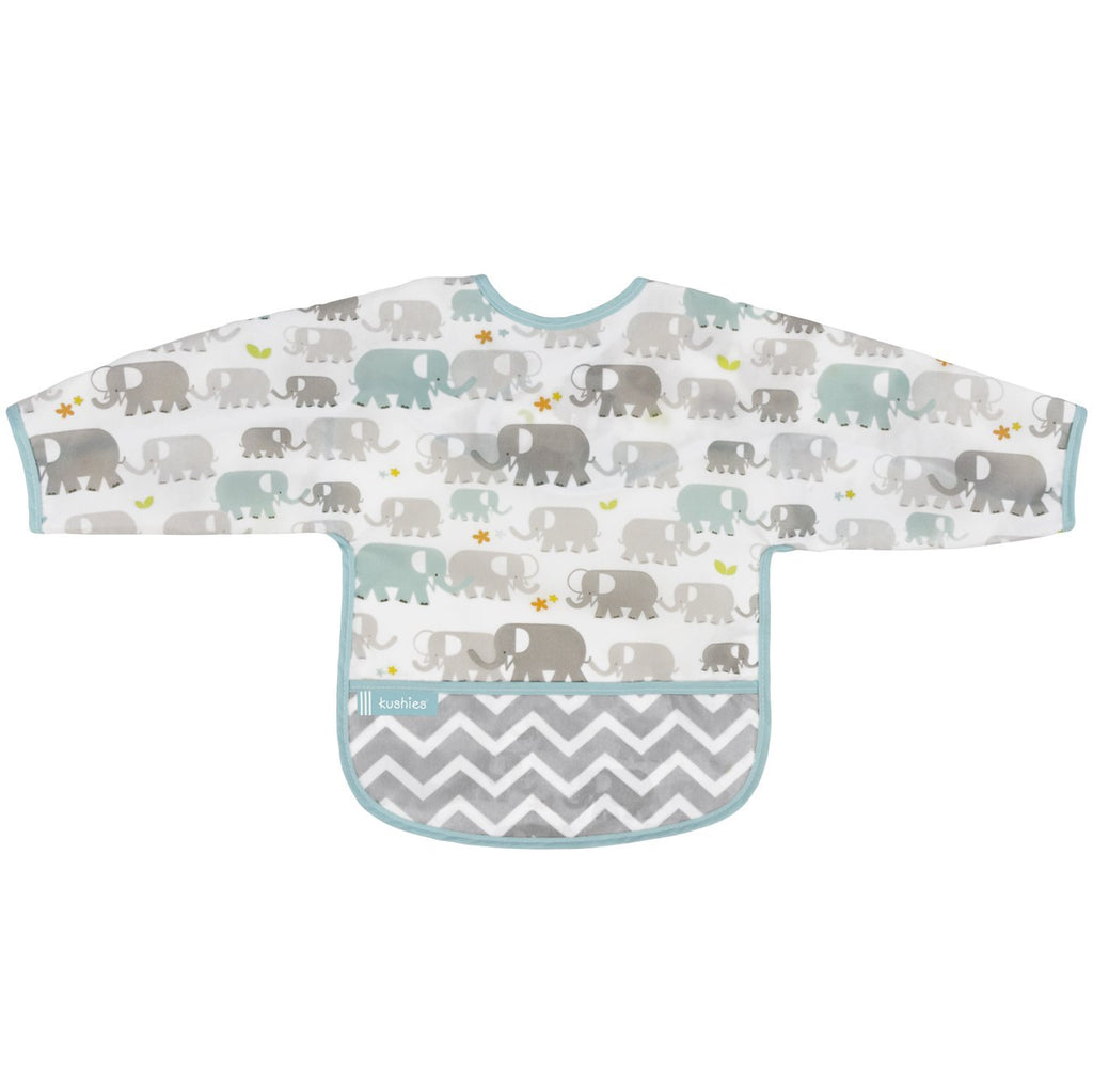 Kushies Clean Bib W/Sleeves Elephants
