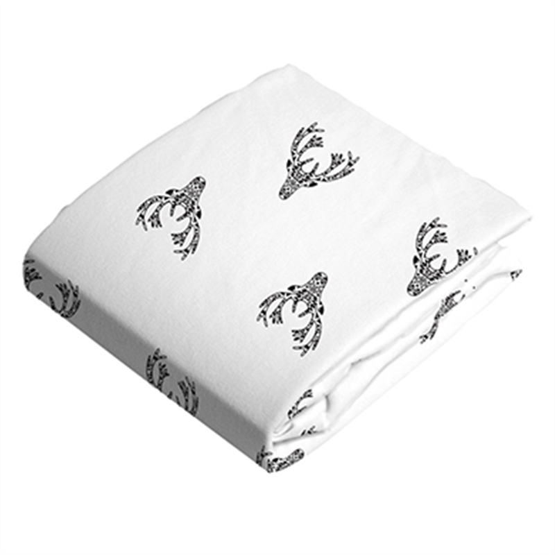 Kushies Change Pad Fitted Sheet Deer Black&White - CanaBee Baby