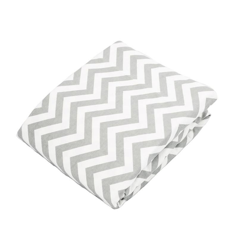 Kushies Portable Playpen Sheet Grey Chevron - CanaBee Baby