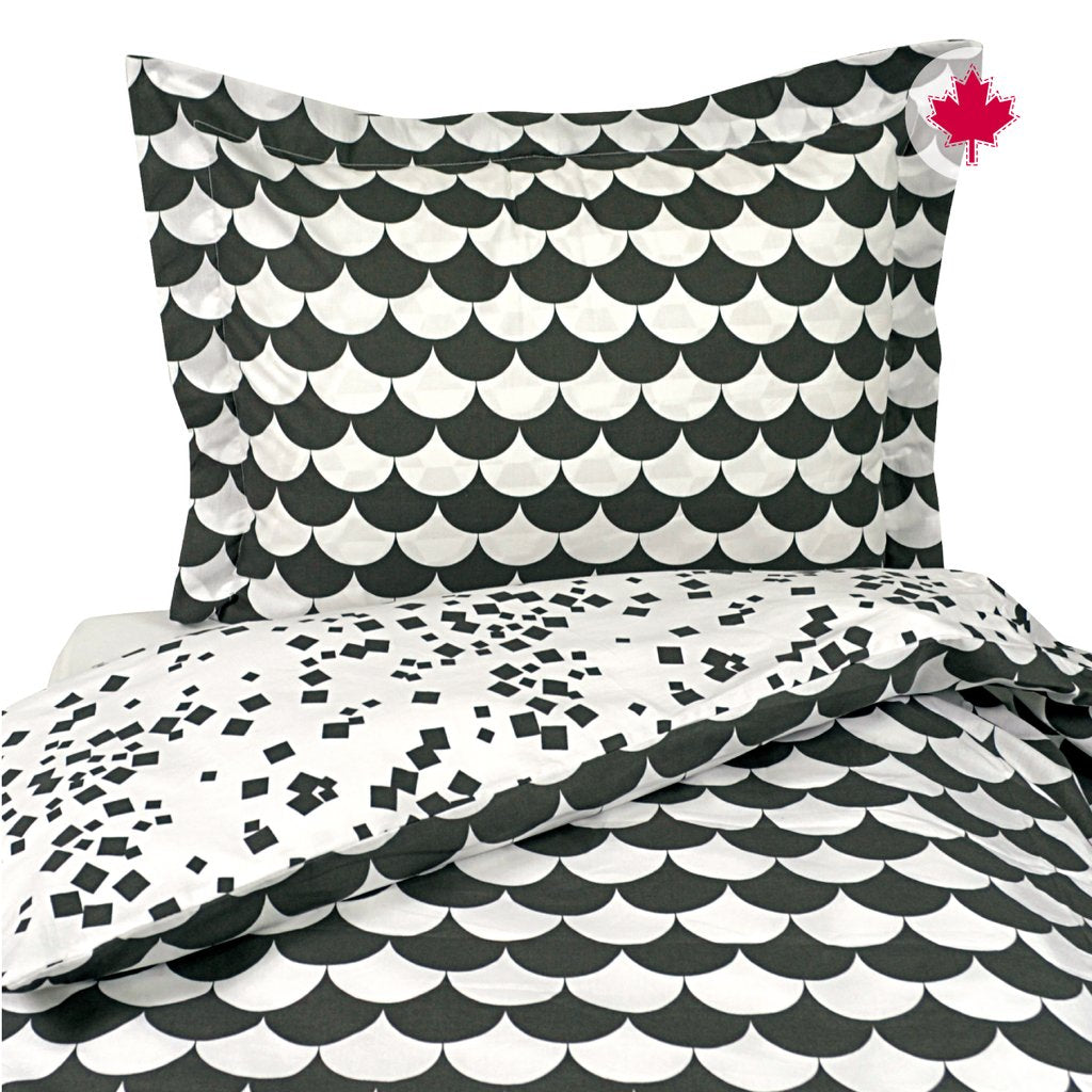 Perlim Pin Pin Reversible Duvet Cover +Sham Twin