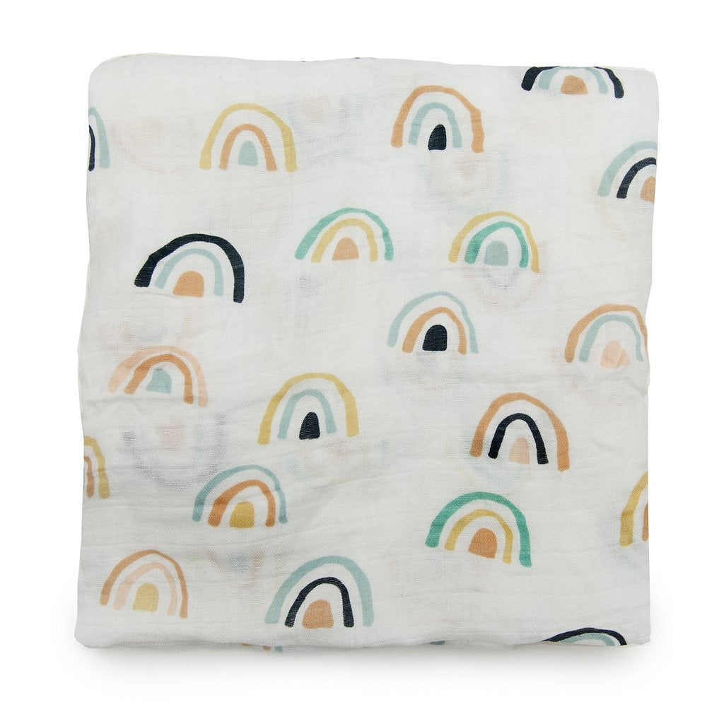 Loulou Lollipop Muslin Swaddle Neutral Rainbow
