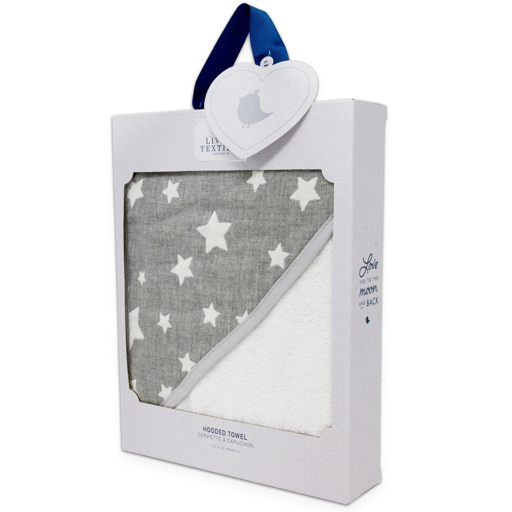 Living Textiles Cotton Muslin Jacquard Hooded Towel - Grey Stars