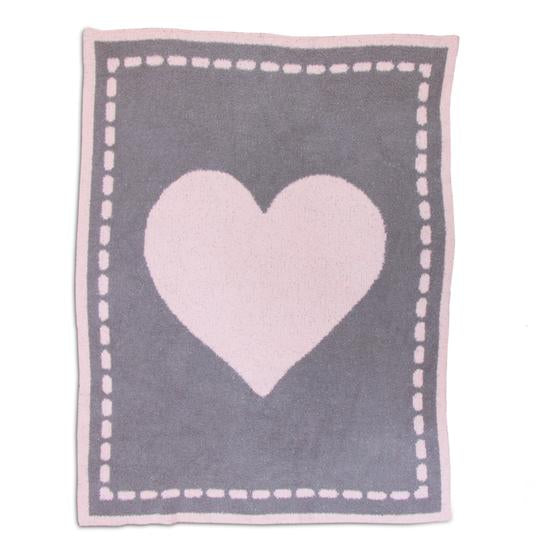 Living Textiles Cozy Baby Blanket - Pink Heart