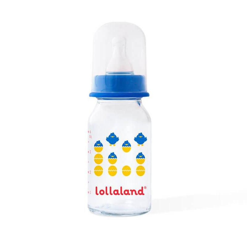 Lollaland Glass Baby Bottle Blue 4oz
