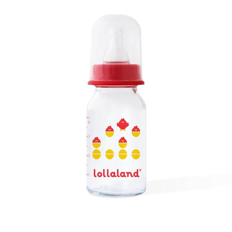 Lollaland Glass Baby Bottle Red 4oz