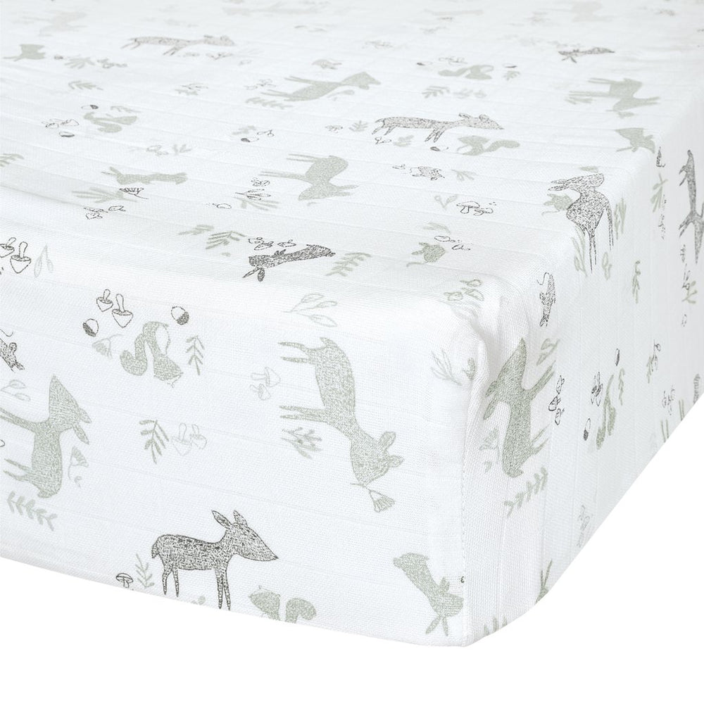 Perlim PinPin Crib Fitted Sheet Cotton Muslin Forest Green