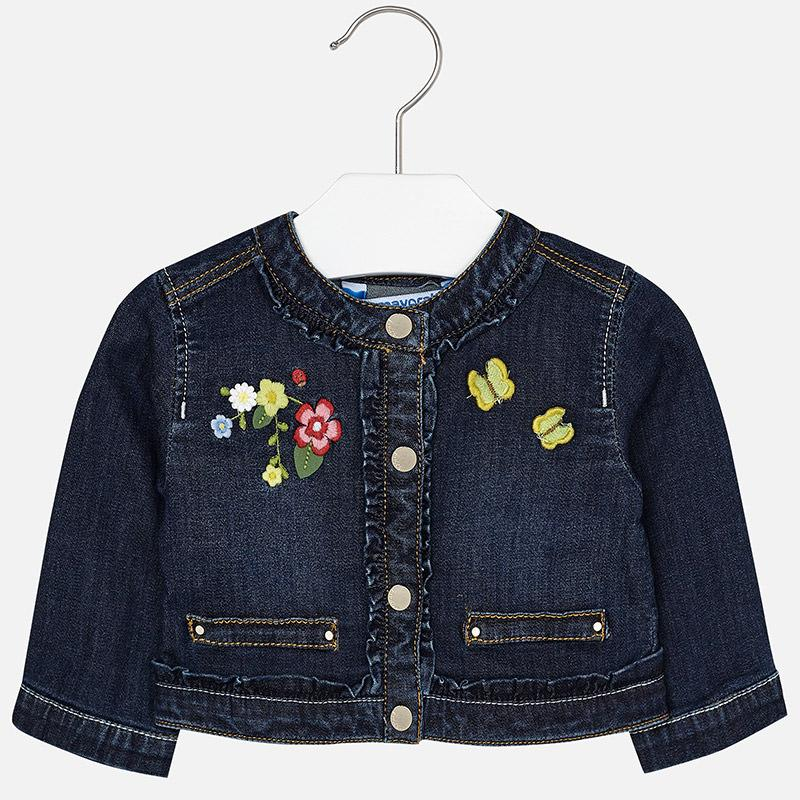 Mayoral Baby Embroidered Jean Jacket Dark