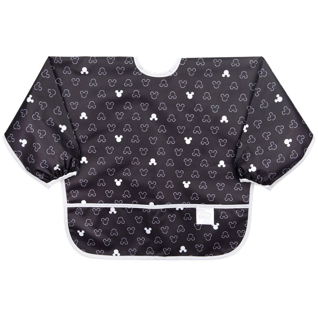 Bumkins Sleeved Bib Disney Micky Mouse Icon B&W