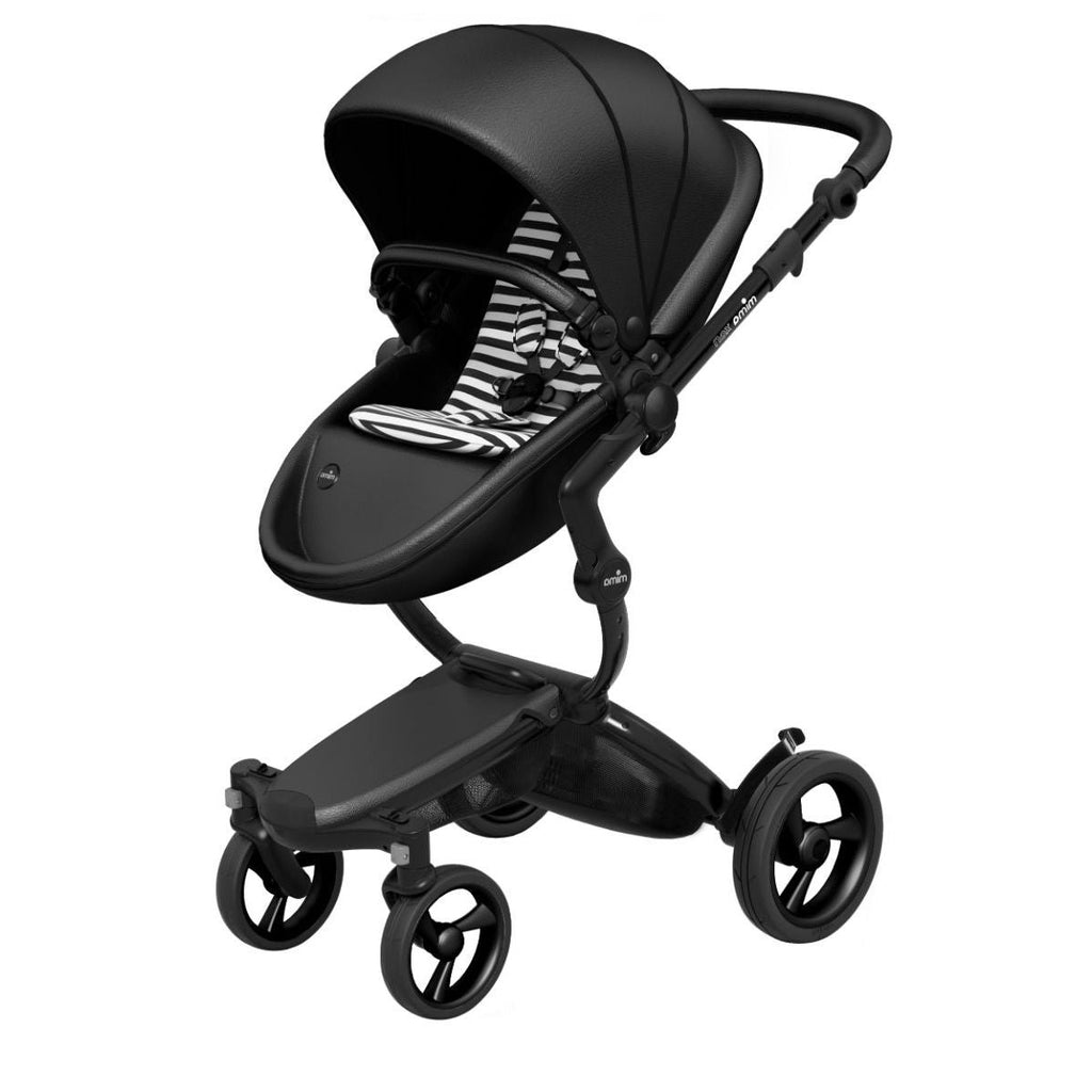Mima Xari Stroller Black Chassis with Black Seat - Black & White Stripes Starter Pack