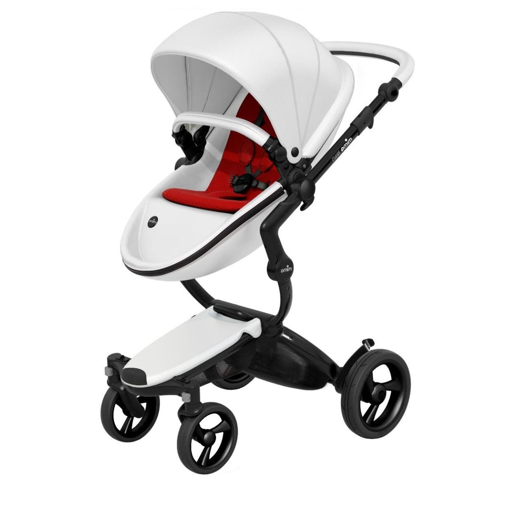 Mima Xari Stroller Black Chassis with White Seat - Ruby Red Starter Pack