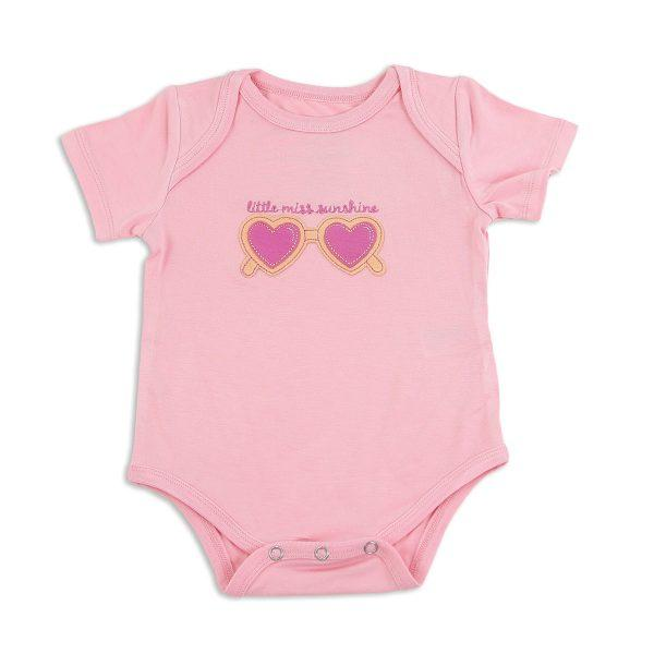 Silkberry Bamboo SS Onesie Ice Cream Pink with sunglass appliqué