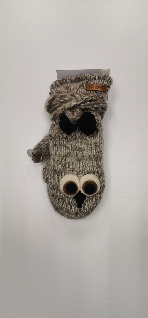 Knitwits A245 Owl Mitts Grey