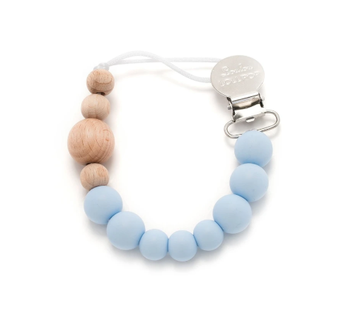 Loulou Lollipop Silicone & Wood Pacifier Clip Baby Blue