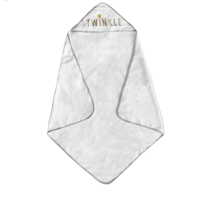 Living Textiles Embroidered Hooded Towel - Grey Twinkle