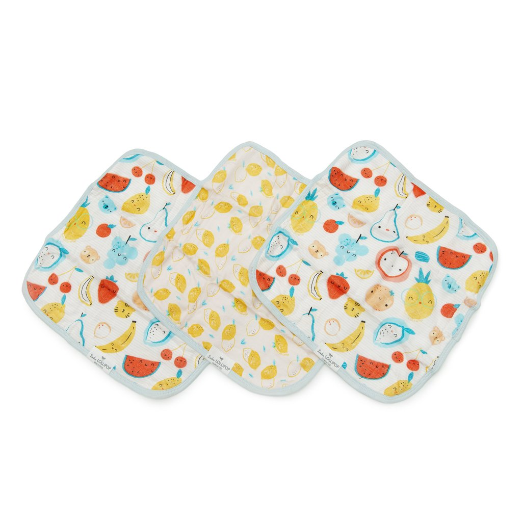 Loulou Lollipop Washcloth Cutie Fruits 3pk
