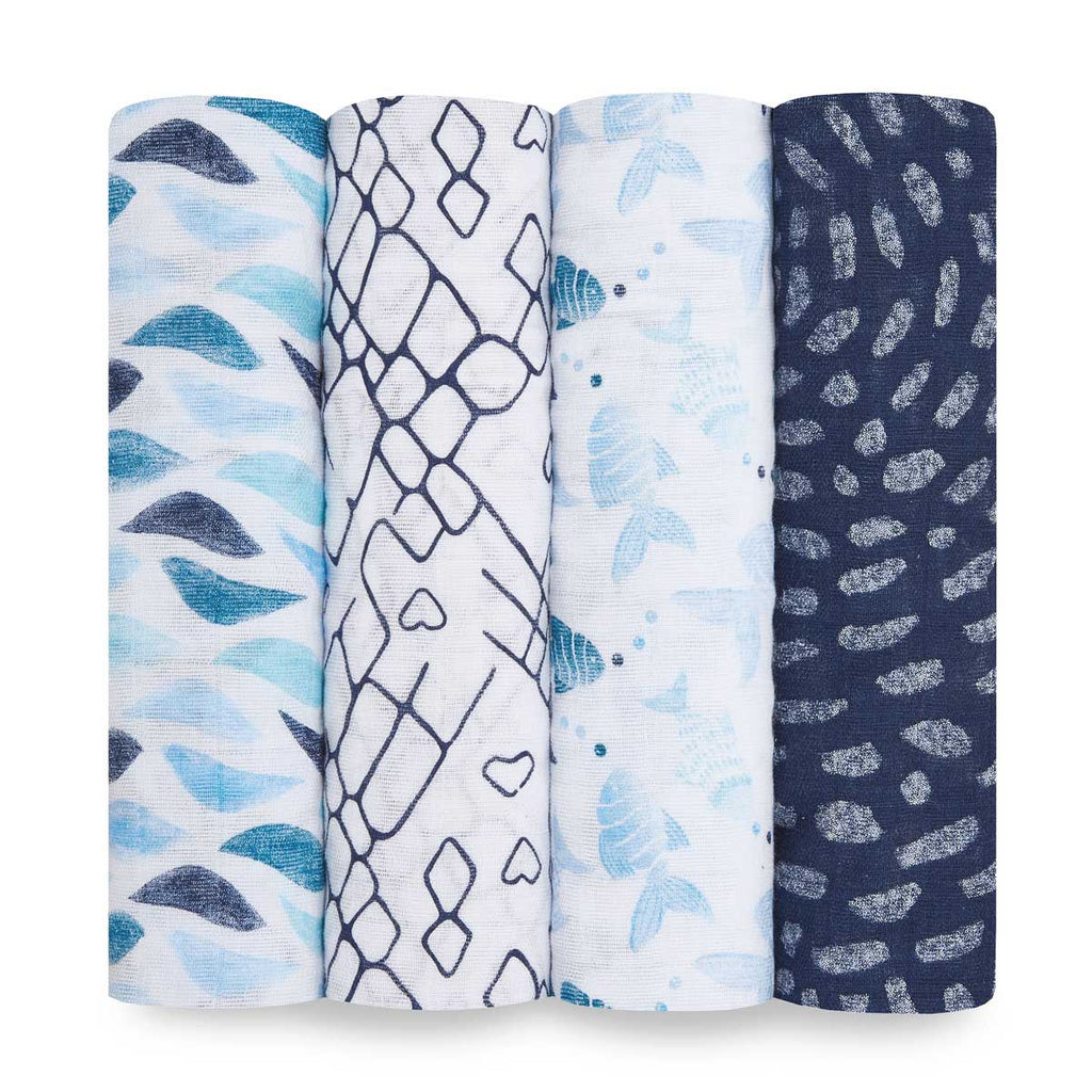 Aden + Anais Classic Swaddle 4pk Gone Fishing