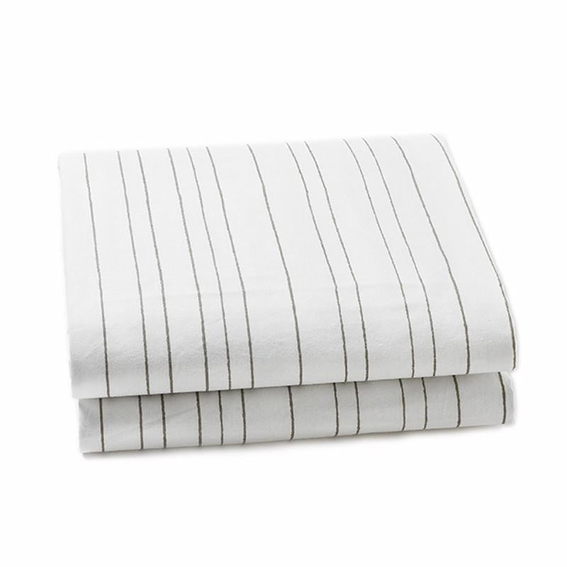 Auggie Twin Crib Sheets - Stripe Grey - CanaBee Baby