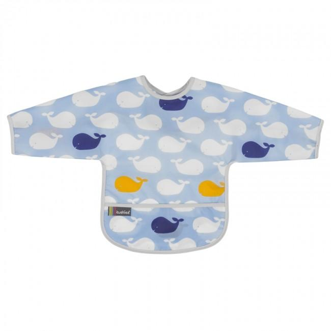 Kushies Clean Bib W/Sleeves Whales