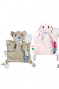Honey Bunny Mini Cuddly Pal Pacifier Holder Assortment 1pc B3052