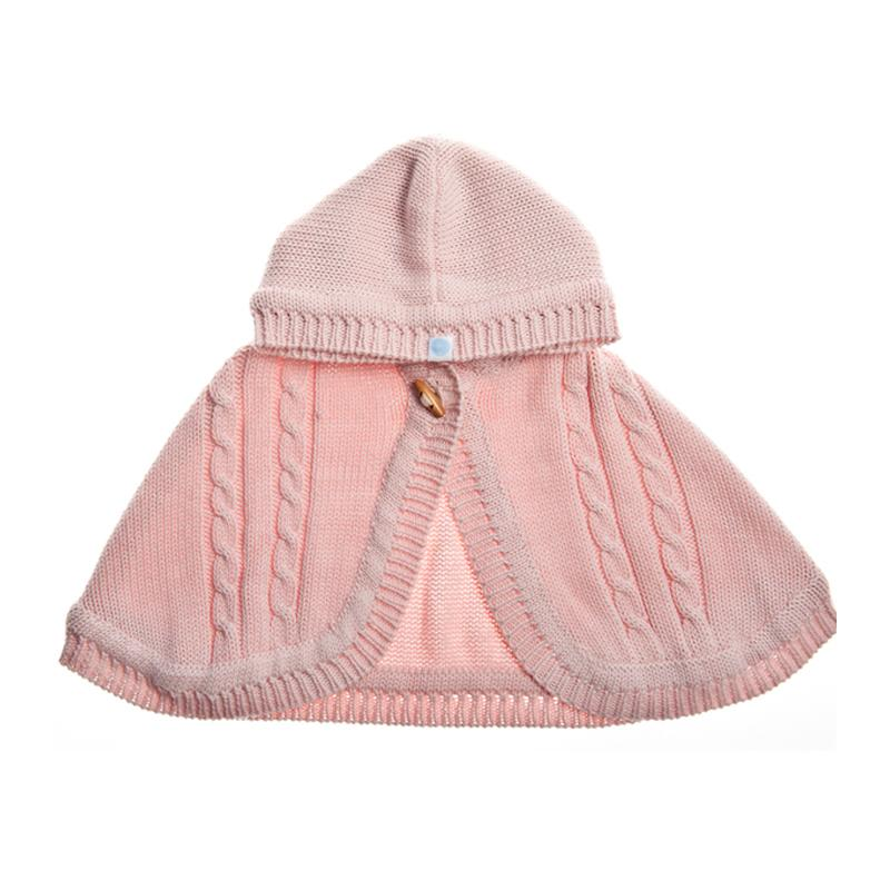 Beba Bean Knit Cape - Pink - CanaBee Baby