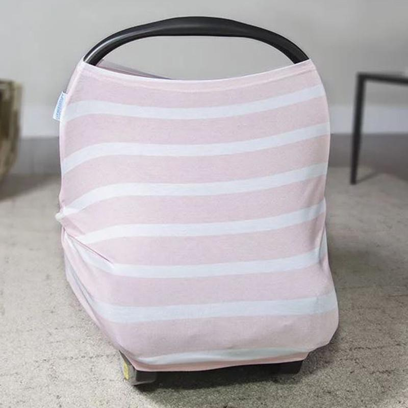 Carseat Canopy Stretch Cover - Pink stripes - CanaBee Baby