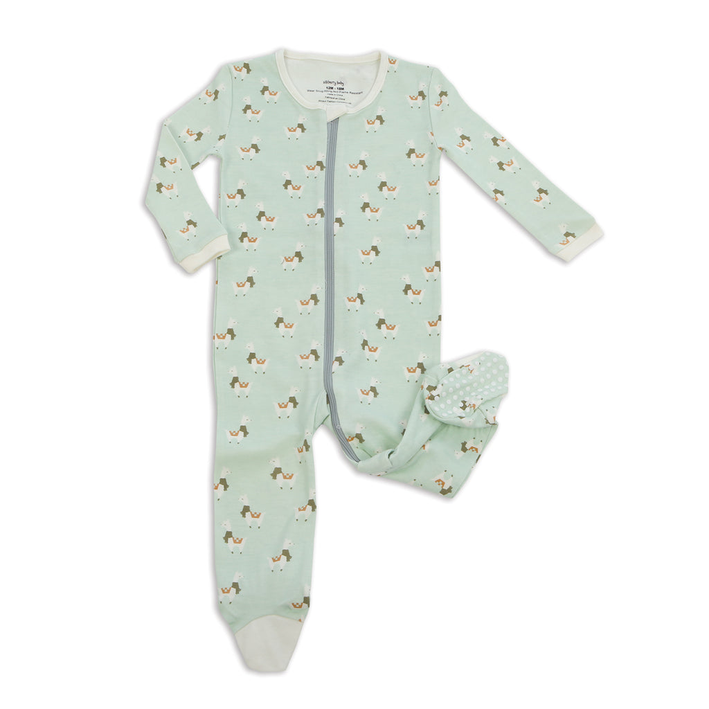Silkberry Baby Organic Cotton Footies with Easy Dressing Zipper (Stardust Llama Print)