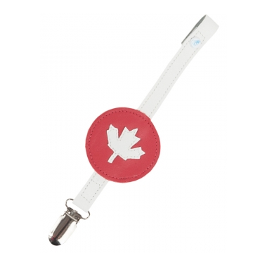 Mally Leather Pacifier Clip - Maple Leaf