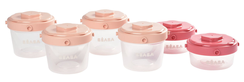 Beaba Clip Portions 6pk 2oz/4oz Pink
