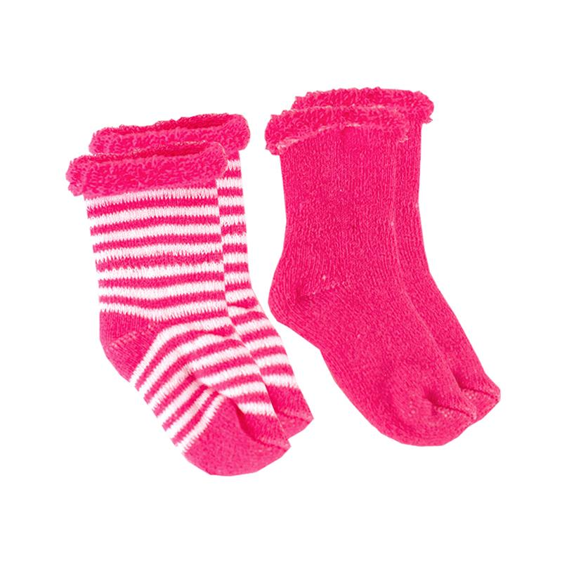 Kushies Baby Socks - Fuschia Stripe Solid 0-3m