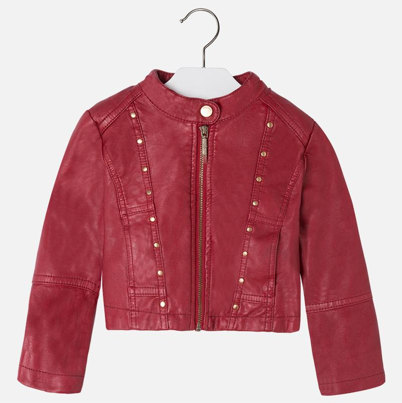 Mayoral Girl Studded Synth Leather Jacket - Red - CanaBee Baby