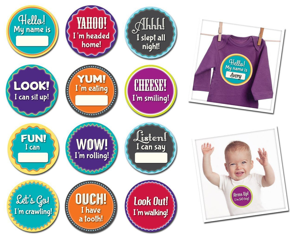 Sticky Bellies Milestone Stickers - Milestone Momentos: Baby's Firsts