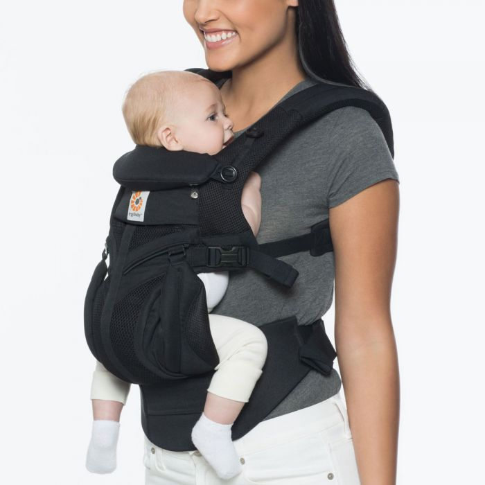 Ergo Baby Carrier Omni 360 Cool Air Mesh Onyx Black (Get Free Teething Pad & Bib of $33 Value)