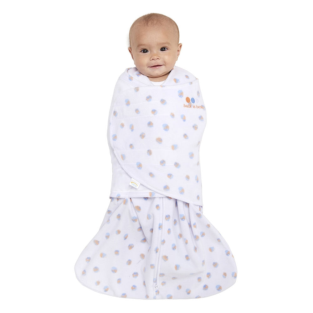 Halo Swaddle Fleece Watercoler Blue/Orange Dot NB