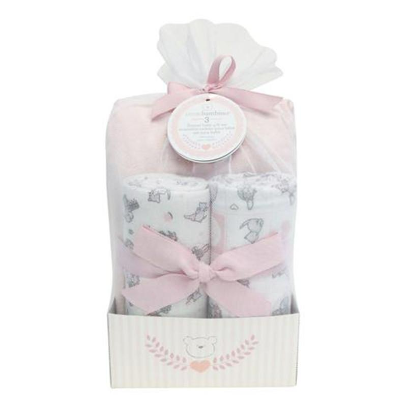 pb flannel baby gift set (blanket & crib sheet) girl - CanaBee Baby