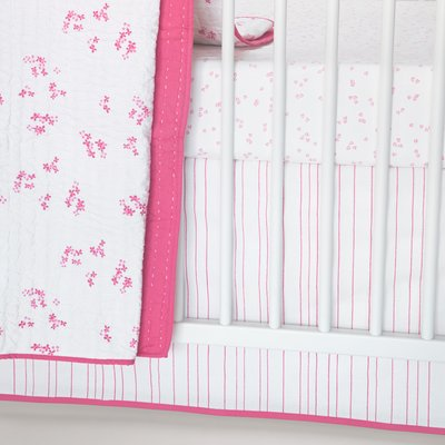 Auggie Striped Crib Skirt Collection - Pink Stripes