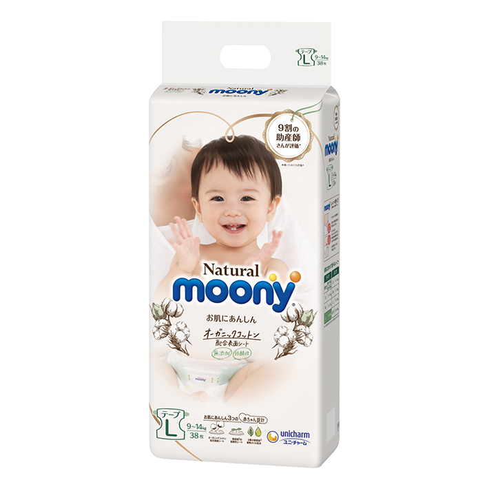 Moony Natural Diaper Tape Style - L (38pc)