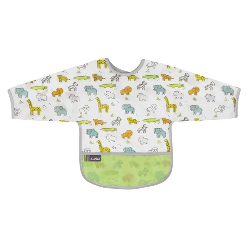 Kushies Clean Bib W/Sleeves Safari