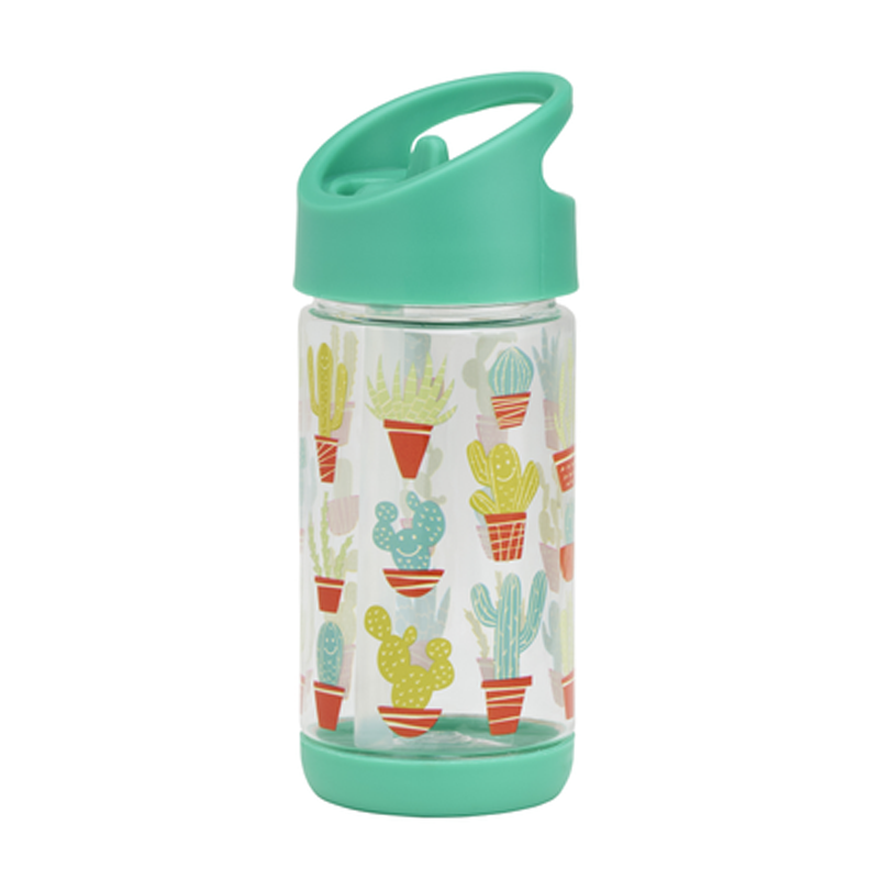 Sugarbooger Flip & Sip Clear Tritan Bottle - Happy Cactus - CanaBee Baby