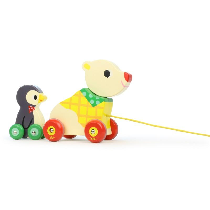 vilac pull along bear and the penguin musical toy - CanaBee Baby