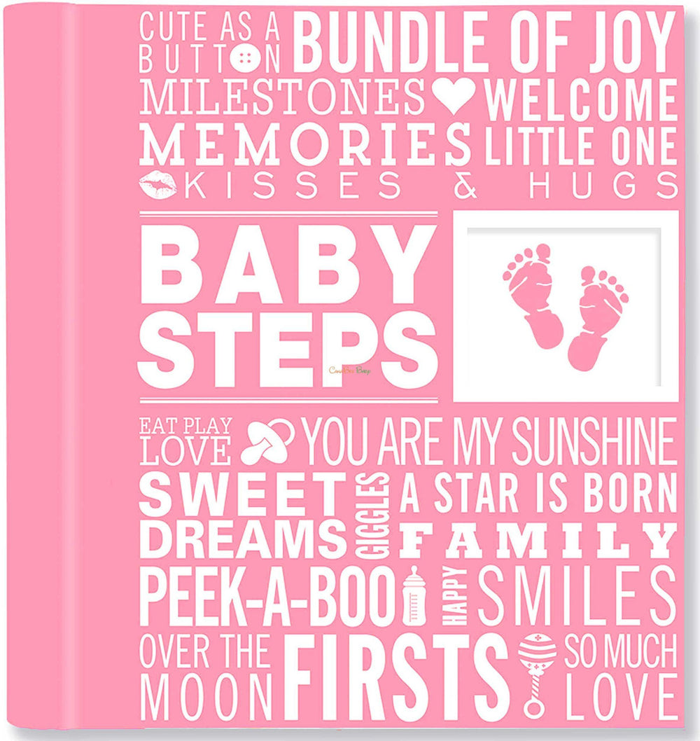 Baby Steps: Baby's First-Year Album - Pink - CanaBee Baby