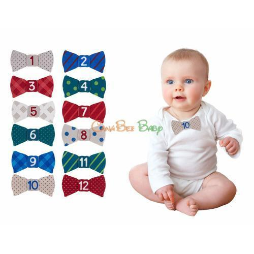 Pearhead Milestone Stickers - Felt Bowties - CanaBee Baby